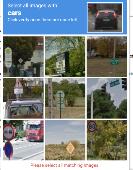 A reCaptcha telling me to banish car images, showing truck and other non-car images but no, I think, cars